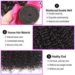 Image 4 - Shuangya Hair Kinky Curly Bundles With Closure Remy Hair Human Hair Bundles With Closure Indian Hair 3/4 Bundles With Closure