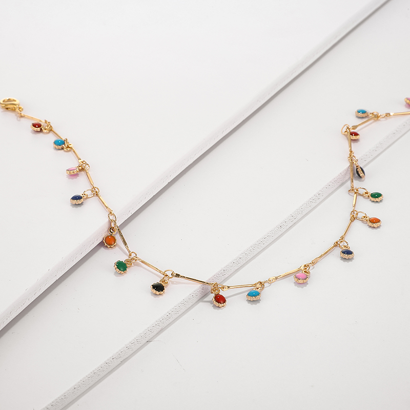 H9851697bd4f94851b9c6fa74f74069a0d - Tocona Fashion Gold Necklace for Women Charming Colorful Stone Chain Chockers Handmade Party Jewelry Wholesale collares B31203