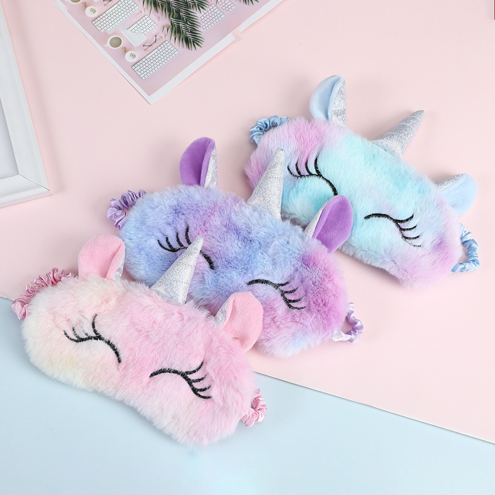 Cute Ice Cream Unicorn Soft Sleeping Eye Cover Mask Animal Plush Fabric Blindfold Kids Toys Gifts Travel Eye Band Shade