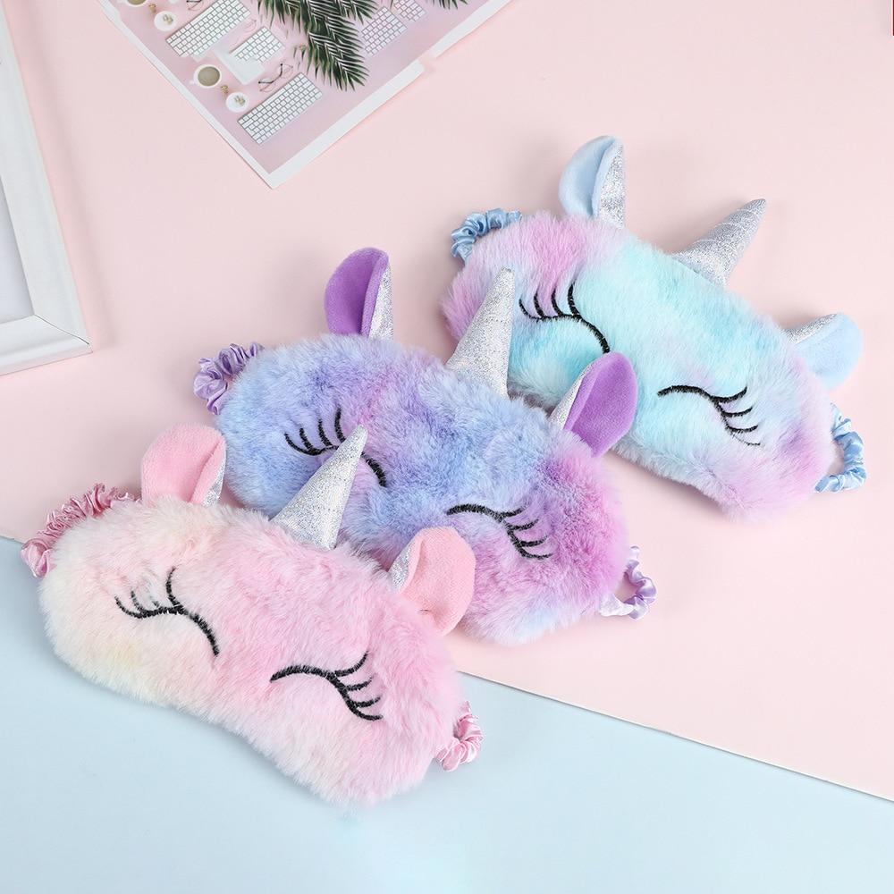 Cute Ice Cream Unicorn Soft Sleeping Eye Cover Mask Animal Plush Fabric Blindfold Kids Toys Gifts Travel Eye Band Shade