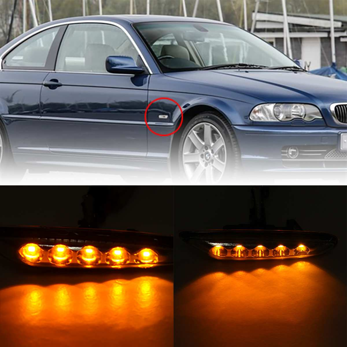 2pcs Turn Signal Light LED Side Marker Turn Indicator Blinker Lamp Signal Lamp for BMW E90 E91 E92 E46 E60 E81 E82 E83 E88 E87 image