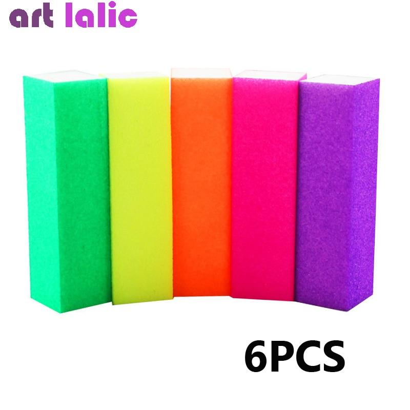 6pcs Nail Buffer Block Neon Color Buffing Sanding Buffer Block Files Manicure Nail Art Tips Women Homemade Beauty Manicure Tools