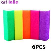 6 pçs bloco de buffer de unhas neon cor polimento lixa buffer arquivo manicure arte do prego dicas mulheres beleza caseira manicure ferramentas