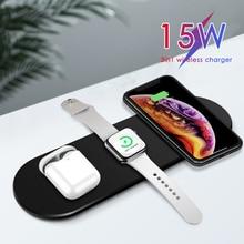 15W Bộ Sạc Không Dây Cho Iphone 11Pro XR XS MAX Nhanh Chóng Sạc Miếng Lót Đầy tải Sạc 3 trong 1 Miếng Lót dành cho Đồng Hồ Apple 5 4 Cho Tai Nghe Airpods