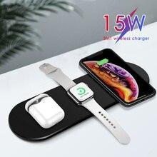 15w carregador sem fio para iphone 11pro xr xs max carregamento rápido almofada de carga completa 3 em 1 almofada de carregamento para apple watch 5 4 para airpods