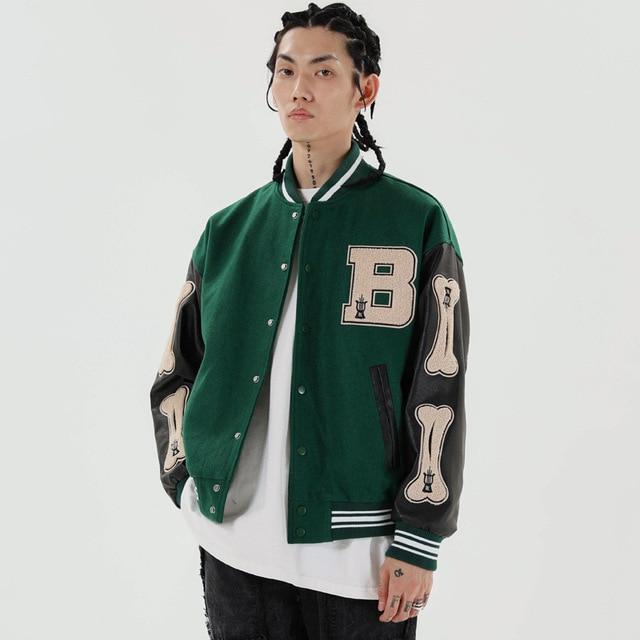 Hip Hop Furry Bone Patchwork Color Block Jackets Mens Harajuku College Style Bomber Jacket Men Baseball Coats 3 color 5