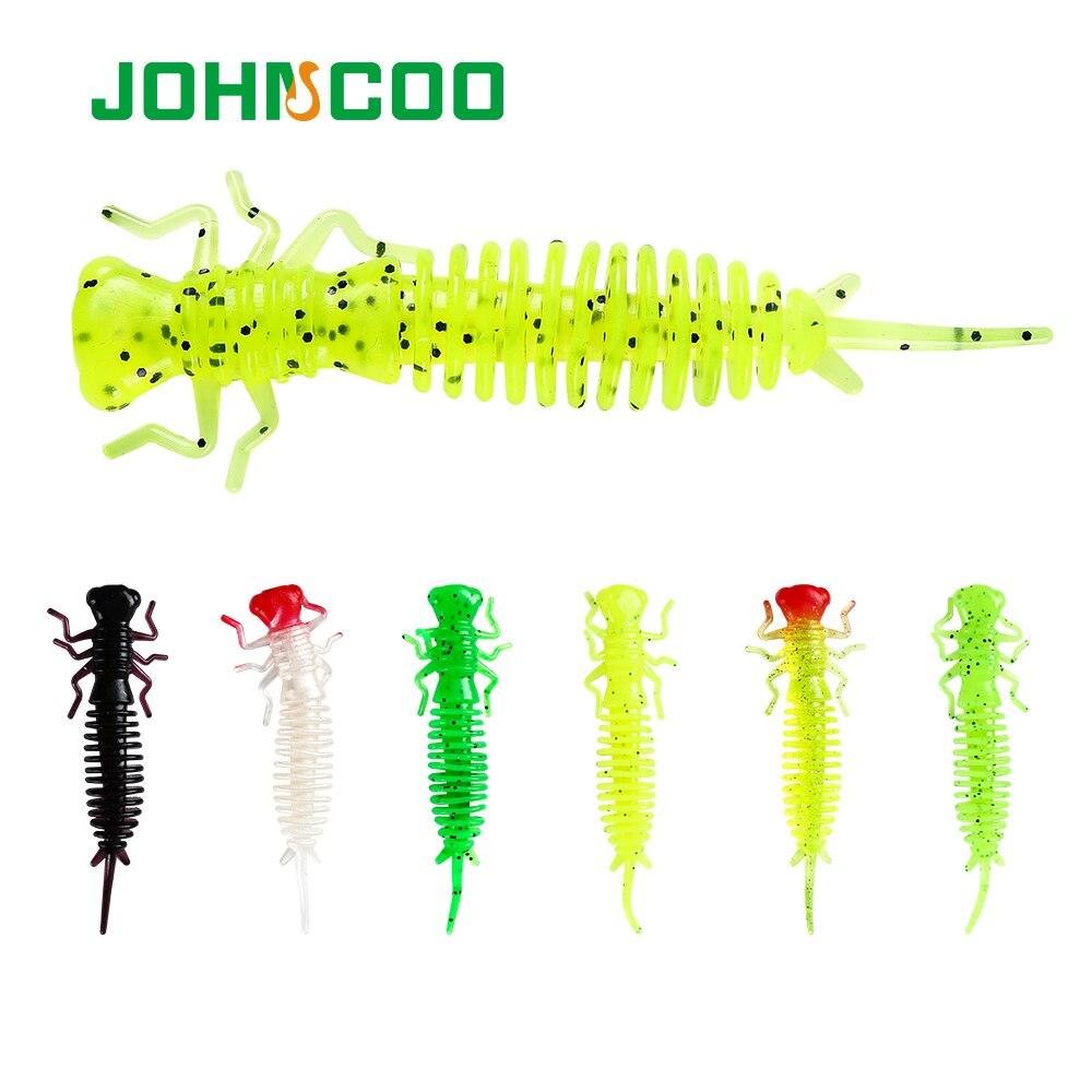 JOHNCOO 6pcs Larva Soft Lures 85mm 4.5g Artificial Fishing Lure Soft Bait Silicone Bass Pike Swimbait  Jigging Plastic Baits