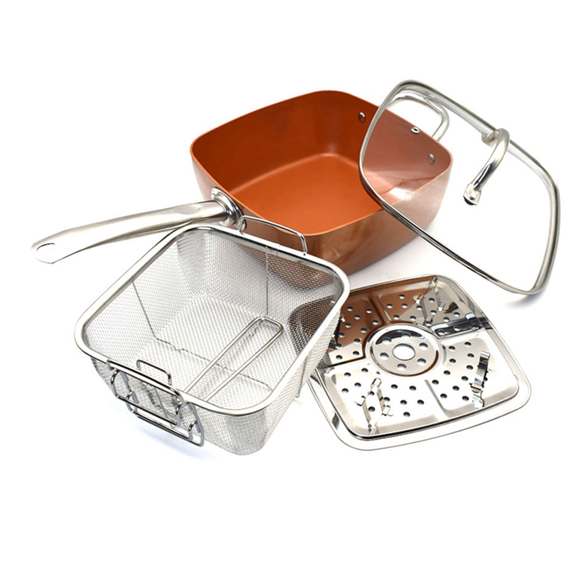 Copper Square Pan Induction Chef W/Glass Lid Fry Basket, Steam Rack 4 Piece Set, 9.5 Inches Used In Induction