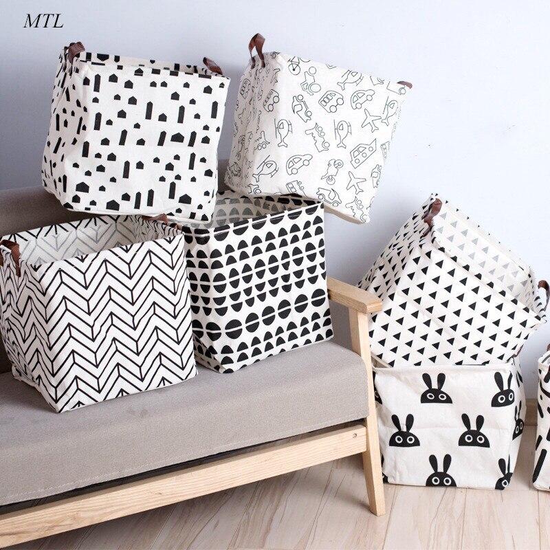 MTL Cotton Linen Foldable Kids Sundries Toys Laundry Clothes Storage Basket