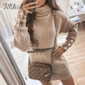 FSDA 2020 Turtleneck Long Sleeve Sweater Dress Mini Oversized Knitted Autumn Winter Khaki Button Women Casual Dresses Loose