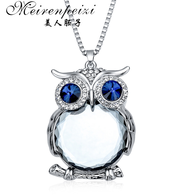 Silver Plated Chain Animal Owl Frog Elephant Necklace Crystal With Gift Box
