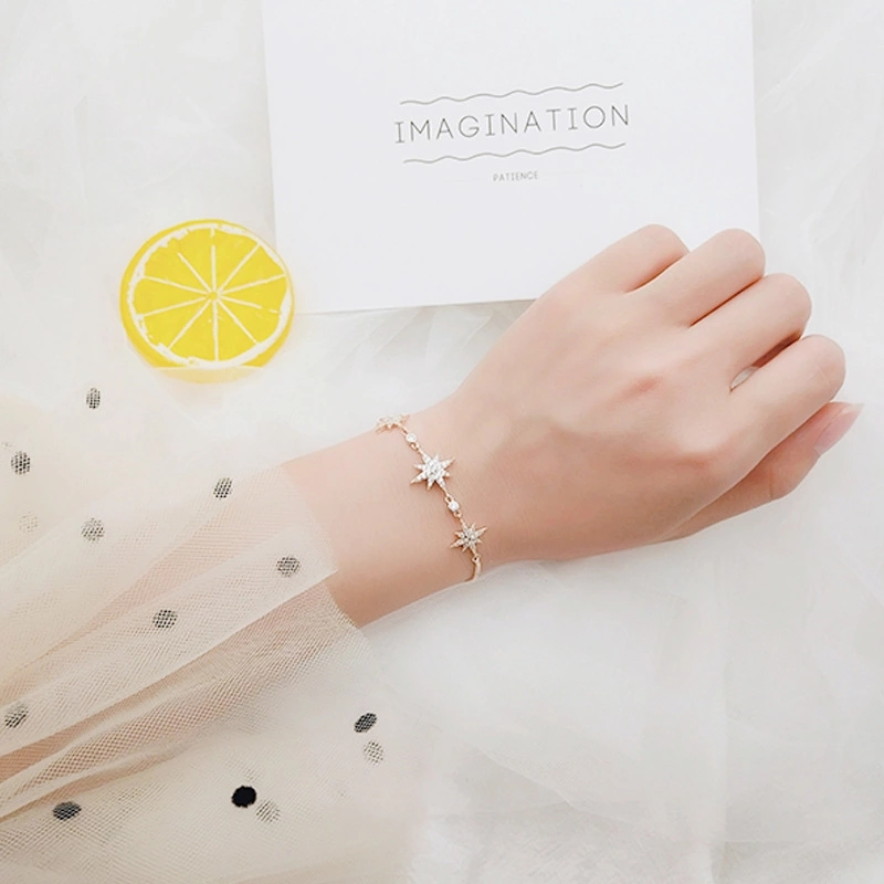 Fashion New Star Shape Charms Chain Bracelet for Women Fine Jewelry Cute Accessories