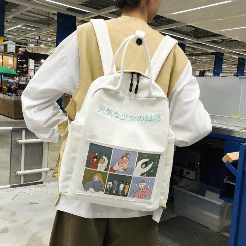 Backpack Women 2020 Summer Cartoon Fashion Female Students School Bags Canvas Shoulder Bags For Teenage Girls Travel Backpacks