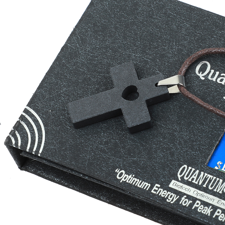 5pcs/lot Cross Scalar Energy Ion Necklace  Jewelry Lava Stone Charm  Jesus I Trust in You Christianity faith Quantum Pendants
