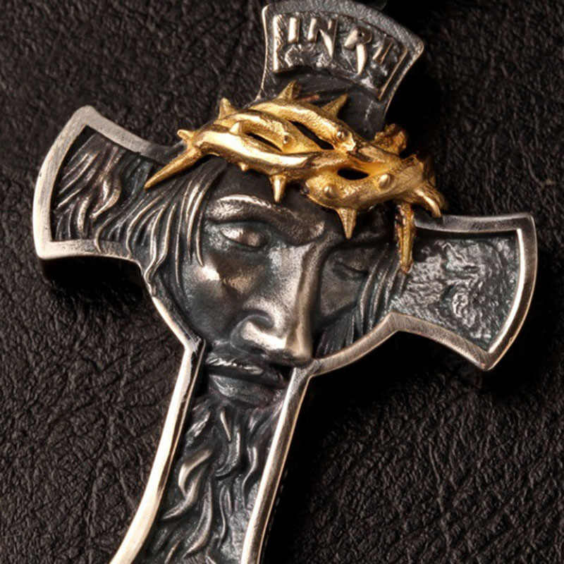 המשיח ישו צלב תליון שרשרת מתכת כסף זהב צלב שרשרת כבד גברים תכשיטי מתנה דתי נוצרי תכשיטי Z5P119