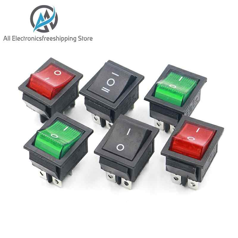 KCD4 Rocker Switch Button On Off 2 Posisi 4 Pin 6 Pin Peralatan dengan Lampu Saklar Daya 16A 250VAC AC 250V