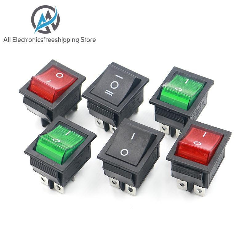 KCD4 Rocker Switch Button ON OFF <font><b>2</b></font> Position <font><b>4</b></font> <font><b>Pins</b></font> 6 <font><b>Pins</b></font> Electrical Equipment With Light Power Switch 16A 250VAC AC 250V image
