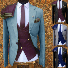 Jacket Pants-Set Business-Suits Wedding Mens Tuxedo Vest Groom Slim-Fit Tailored Blue
