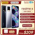 Realme 8 6 ГБ Оперативная память 128 Гб Встроенная Память 30W зарядное устройство мобильный телефон на процессоре Helio G95 Octa Core 6,44