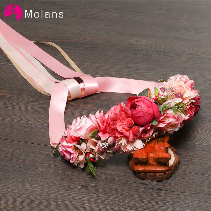 MOLANS Bohemian Floral Bridal Sash Natural Berries Wedding Belts Elegant Fabric Waist Band Woodland Photo Shoot Dress Gown Belt