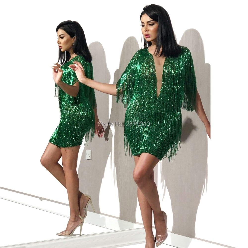 Green V-Neck Homecoming Dress Short-Length Mermaid Sequined Tassel Above Knee Cocktail Dress Коктейльный костюм Vestido De Festa