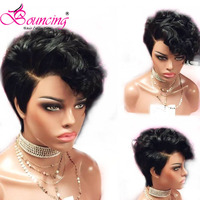 Bouncing remy Hair Lace Front Human Hair Wigs Natural Color Short Pixie Cut Wig 150% 13x4 wig Side Part For Women Lace Front wig