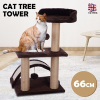 Cat Tree Tower Condo Furniture Scratch Cat Jumping Toy with Swinging Ball for Kittens Pet House Play Toy Grey Coffee 66cm