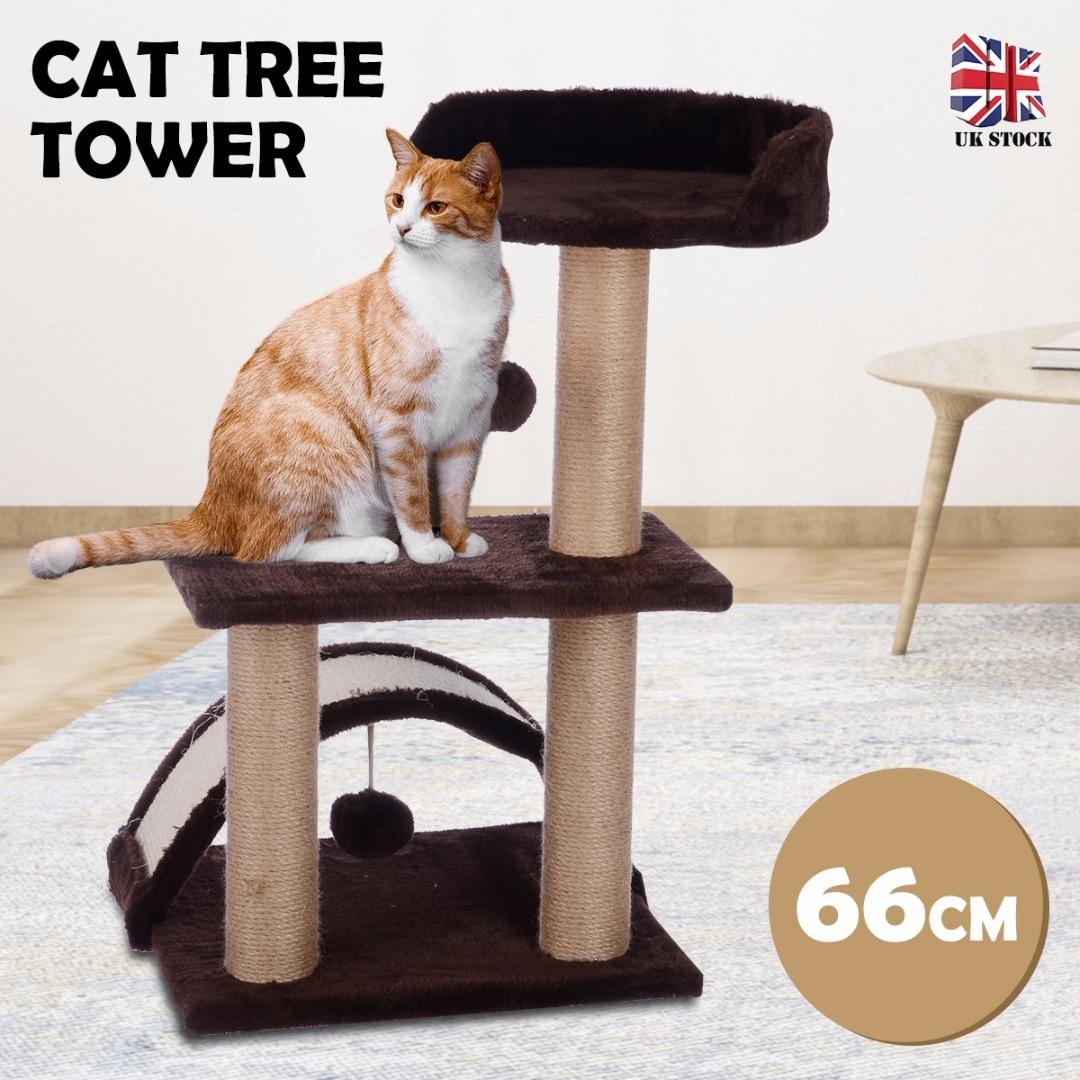 Chat arbre tour Condo meubles Scratch chat saut jouet avec balançant balle pour chatons Pet House jouer jouet gris café 66cm