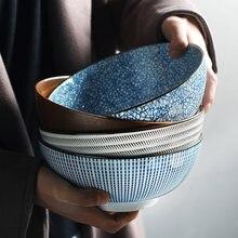 Bol Ramen japonais 8 pouces, bol à nouilles en céramique Design à rayures grand bol à soupe Restaurant vaisselle rétro domestique