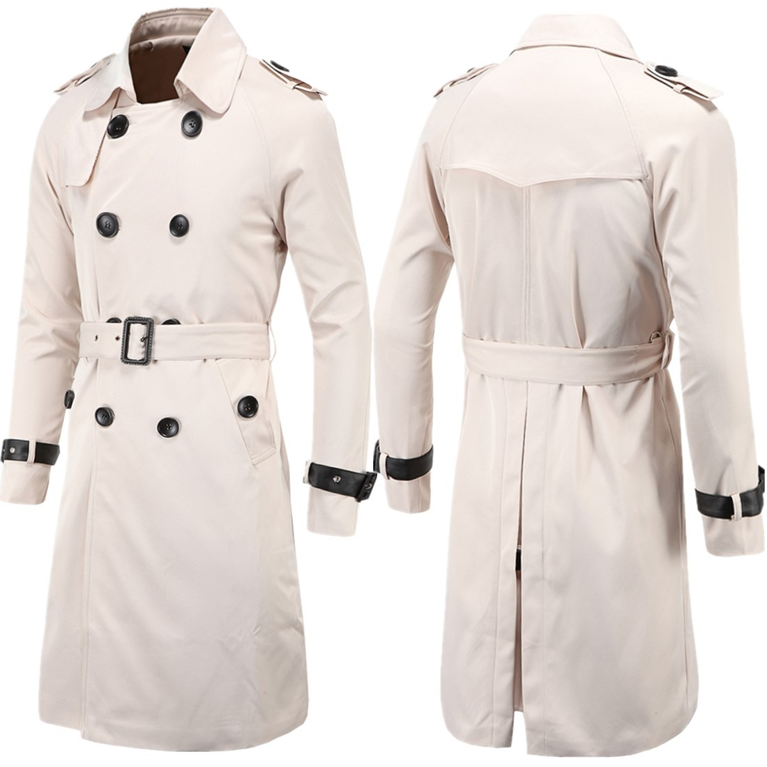 Aowofs Fashion Men'S Wear Spring Clothing Boutique Europe And America Long Slim Fit Double Breasted Trench Coat MEN'S Coat