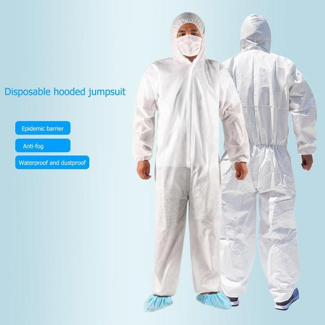 15PCS Disposable Hoodies Jumpsuit Coverall Gown Dust-proof Isolation Clothes Labour PPE Suit Security Protection Hooded Clothing 1