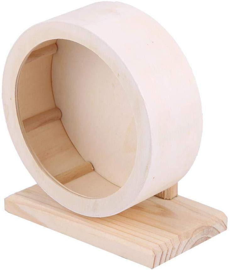Small Animals Wooden Exercise Wheel Hamster Mute Running Spinner  For Rat Gerbils Chinchillas Hedgehogs Mice Guinea Pigs