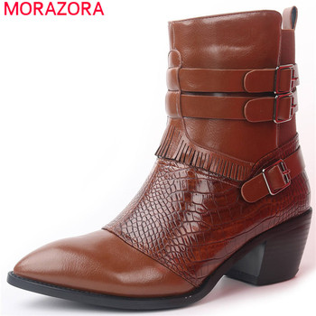 MORAZORA hot sale women ankle boots pointed toe buckle tassel autumn winter short boots square heels shoes woman Western boots