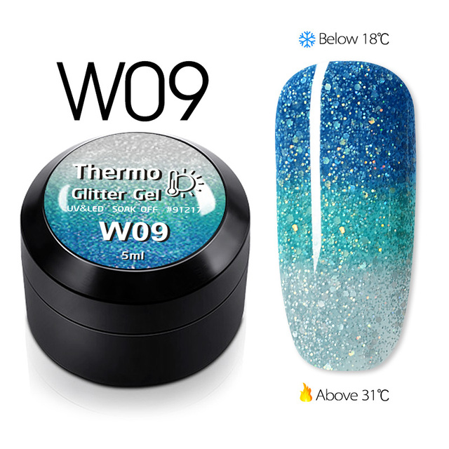 GDCOCO Temperature Change Glitter Color Gel Polish Cool Thermal Magic Effect Nail Varnish Gel Soak Off UV LED Gel Lacquer 2
