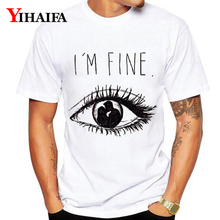 Summer T-Shirt Mens Womens I am Fine Letters 3D Print Funny Big Eyes Graphic Tees Casual White Cotton Tee Shirts Tops