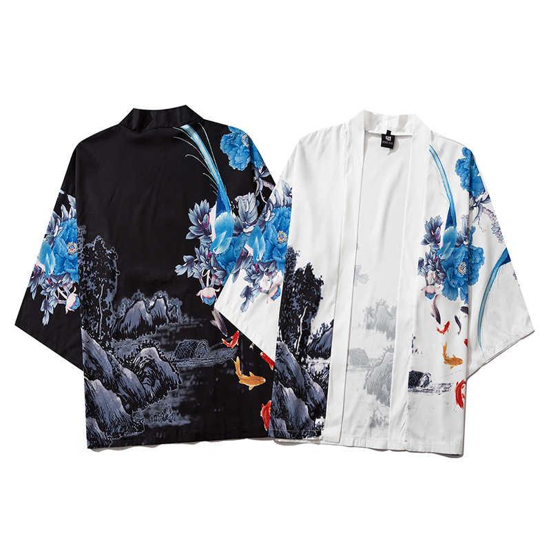 2020 パンダプリント中国風の街路日本原宿着物コスプレファッション男性と女性のカーディガンブラウストップアジア服
