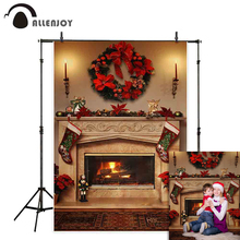 Allenjoy  photo background Christmas fireplace sock new year indoor decor family photocall backdrop for photography photophone
