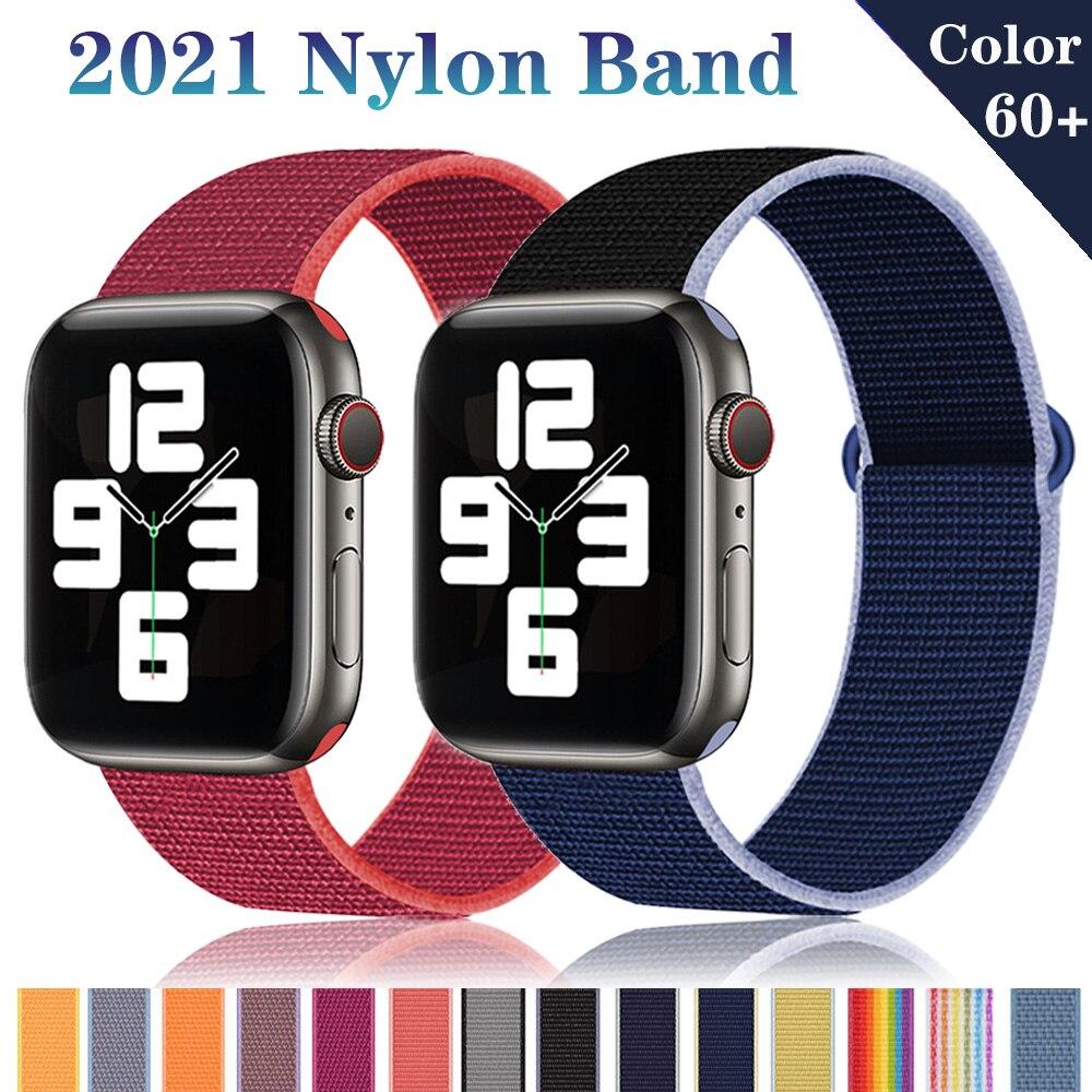 Ремешок нейлоновый для Apple Watch Band 6/5/4/Se, Воздухопроницаемый браслет для iWatch Series 4/3/21, 38 мм 42 мм 40 мм 44 мм, аксессуары для часов