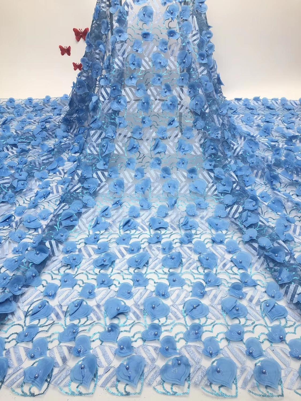 Classique 3D motif coeur 5 mètres africain net tulle dentelle tissu avec perles belle française pour grande occasion JIAJIASE221