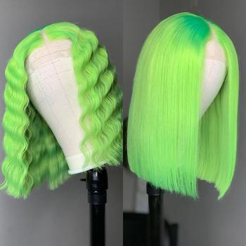 13*6 Lace Front Human Short green Hair Wigs Straight And Deep Wave Front Wig For Black Women Pre Plucked With Baby LINMAN