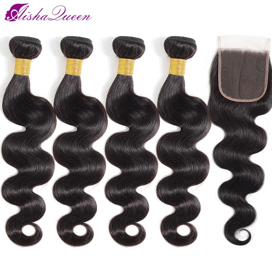 Aisha Queen Hair 4 Bundles With Closure Brazilian Body Wave Human Hair Lace Closure Non Remy Hair Bundles With Closure