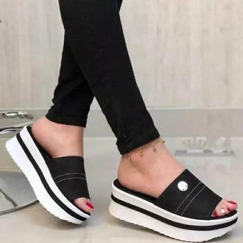 Women's Slippers Platform Sandals Women Shoes Summer Casual Fashion Solid Thick Bottom Outdoor Beach Slippers Ladies Slides