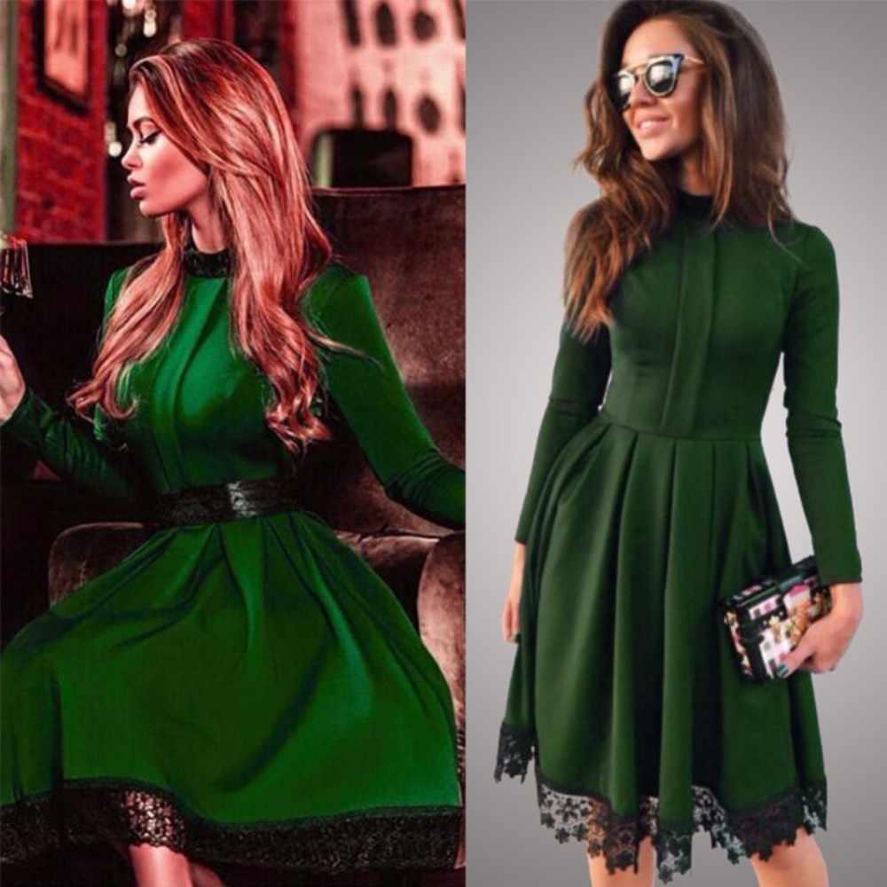 Quente 2019 verão nova moda feminina casual manga comprida vestido de festa verde o-neck vestidos de renda plus size S-4XL tamanho