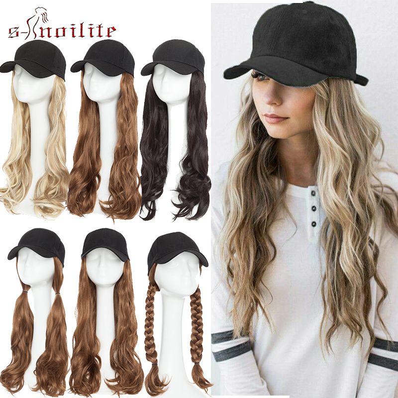 SNOILITE  Synthetic Hair Extensions With Baseball Hat Cap Baseball Cap With Long Wavy Hair Natural Hairpiece Fake Hair For Women