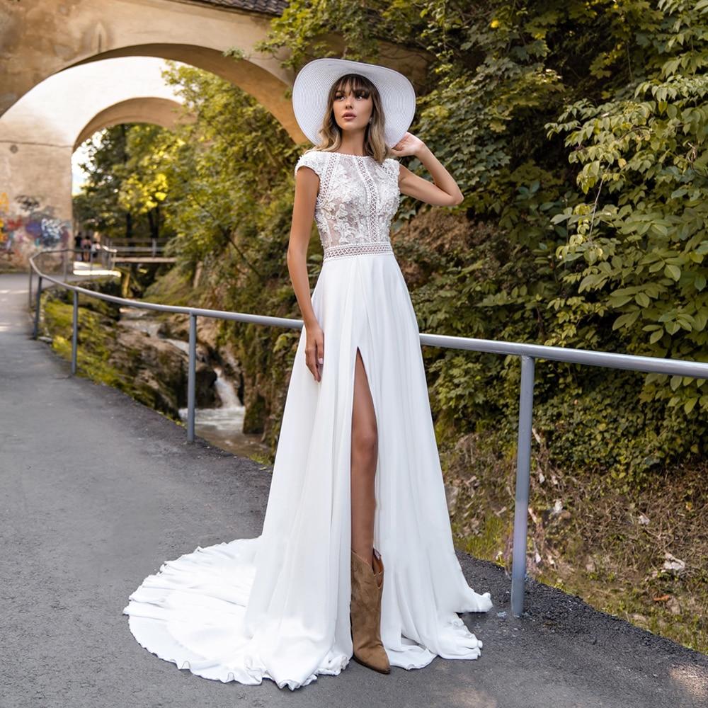 Sexy Summer Beach Wedding Dress Scoop Cap Sleeve Side Slit Bridal ...