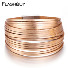 Flashbuy 5 Color Multiple Layers Bracelets For Women Vintage Magnetic Round Wrap Charms Jewelry Femme Bracelet