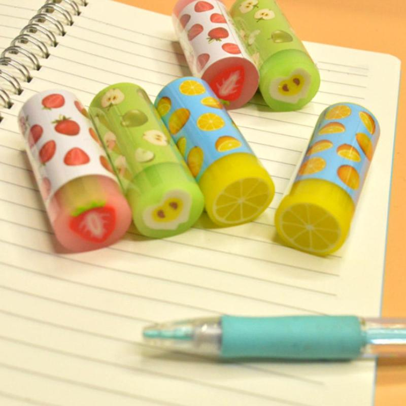 1pcs Cartoon 2B Eraser Cute Fruit Print Cylinder Shape Student Child Eraser Novelty Kawaii Fruit Rubber Erasers For Kids