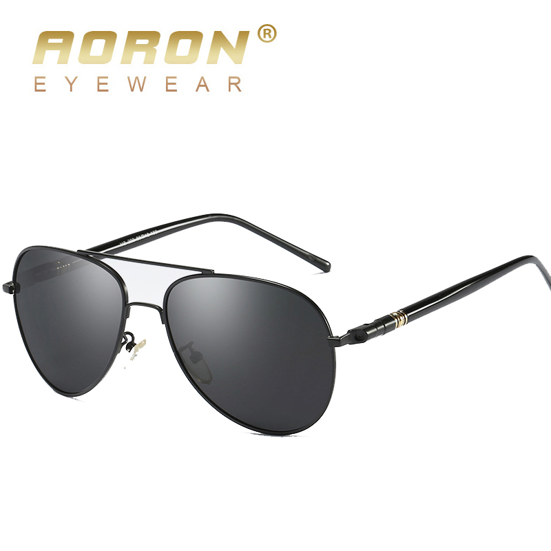 AORON Men Polarized Sunglasses Classic Pilot Glasses Brand Goggoles UV400 Protection Metal Frame