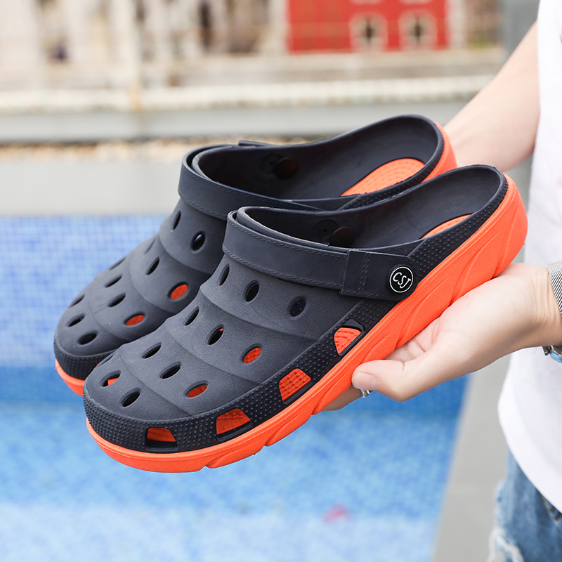 New Men Garden Casual Male Sandals Summer Hole Shoes Rubber Clogs For Men Summer Slides Crocse Swimming Jelly Shoes Size 36-45