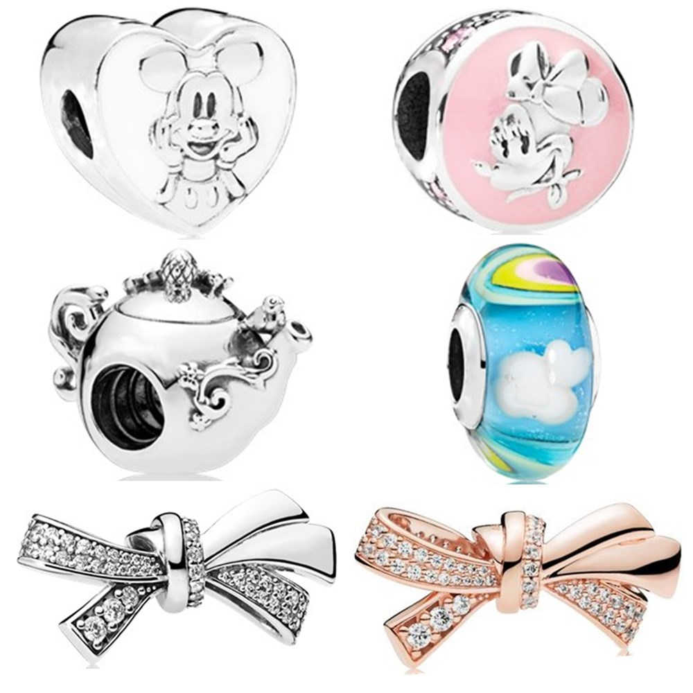 Silver 925 Rose Gold Round Safety DIY Rainbow Mickey Minnie Swan Sister Bead Clip Charm Fit Original Pandora Charms Bracelet
